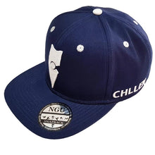 Load image into Gallery viewer, navy blue white snapback hat cap lifestyle wear chllen chillen clothing chillin apparel