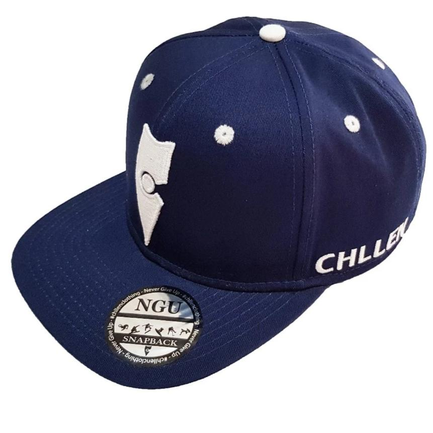 chillen chllen lifestyle wear navy blue-white snapback hat cap