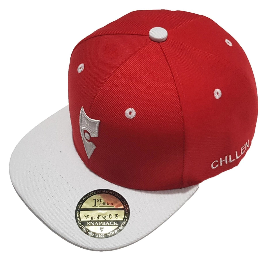 chillen chllen lifestyle wear red-white snapback hat 1st edition