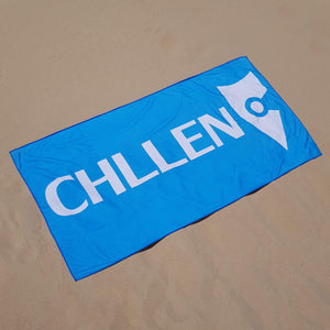 chllen lifestyle wear blue beach towel light blue beach towel sand shots chllen clothing chillen