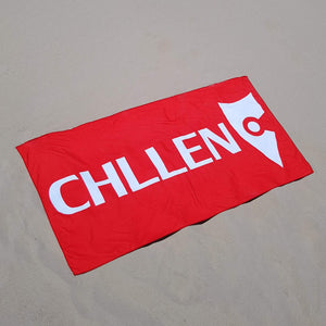 chllen lifestyle wear red beach towel red towel sand shots chllen clothing chillen