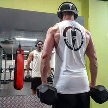 Load image into Gallery viewer, chllen lifestyle wear white tank top white singlet white shirt dumbell anytime fitness bose head set black snapback hat