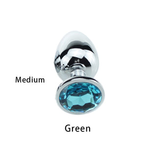 1pcs/Set Stainless Steel Metal Anal safe plug medical Anal Beads Anus tube Crystal Waterproof Adult  Products Plug for women