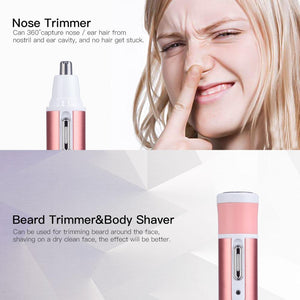 4 in 1 Epilator Female Eyebrow Trimmer Epilator Shaver For Hair Removal Epilator Face depilador Female Bikini Depilatory