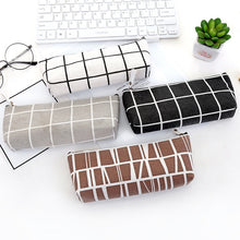 Load image into Gallery viewer, Canvas Geometric Pencil Case School Simple Striped grid Solid Color Cute Kawaii Pencil Bag Pouch Office Students Kids Supplies