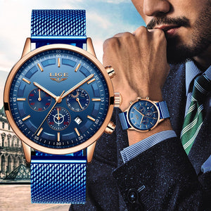 LIGE New Mens Watches Male Fashion Top Brand Luxury Stainless Steel Blue Quartz Watch Men Casual Sport Waterproof Watch Relojes