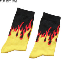 Load image into Gallery viewer, Men Fashion Hip Hop Hit Color On Fire Crew Socks Red Flame Blaze Power Torch Hot Warmth Street Skateboard Cotton  Socks