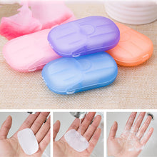 Load image into Gallery viewer, 20pcs Portable Mini Travel Soap Paper Washing Hand Bath Clean Scented Slice Sheets Disposable Boxe Soap whitening soap making