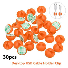 Load image into Gallery viewer, 30pcs Car Desk Wall USB Wire Cable Line Fastener Clip Clips Holders  Organizer Retainer Clamp Clamps Tie Lines Fixed