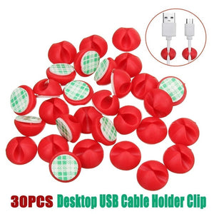 30pcs Car Desk Wall USB Wire Cable Line Fastener Clip Clips Holders  Organizer Retainer Clamp Clamps Tie Lines Fixed