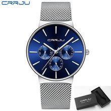 Load image into Gallery viewer, reloj hombre 2019 CRRJU Top Brand Luxury Men Watches Waterproof Ultra Thin Date Wrist Watch Male Mesh Strap Casual Quartz Clock
