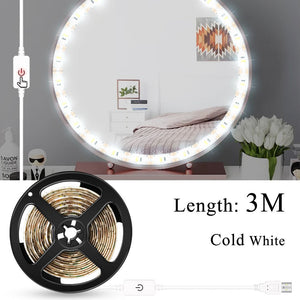 Makeup Vanity Mirror Light Strip Led USB Cable 5V Dimmable Dressing Table Lamp Tape Bathroom Make Up Cosmetic Mirror Lights Kit
