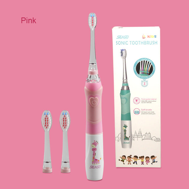 SEAGO Children Electric Toothbrush for 3-12 Ages Battery Children Toothbrush LED Sonic Kids Toothbrush with Timer 3 Nozzles