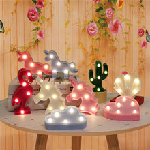 Load image into Gallery viewer, Cartoon Night Lights Unicorn/Flamingo/Cactus/Pineapple/Cloud/Star/Shell/Heart LED Table Lamp For Children's Bedroom Decoration