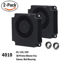 Load image into Gallery viewer, 2PCS Gdstime 40mm 3D Printer Fan 12V 24V 5V 4010 Blower Printer Cooling Accessories  DC Turbo Blower Fan Radial Fans 40x40x10mm