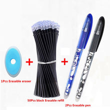 Load image into Gallery viewer, 53Pcs/Lot Erasable Pen Refill Set Washable Handle 0.5mm Blue Black ink Erasable Pen Refill Rod School Office Writing Stationery