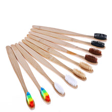 Load image into Gallery viewer, OSHIONER 1PC Natural Bamboo Handle Toothbrush Rainbow Colorful Whitening Soft Bristles Bamboo Toothbrush Eco-friendly Oral Care