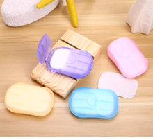Load image into Gallery viewer, Outdoor Travel Soap Paper Washing Hand Bath Clean Scented Slice Sheets 20pcs Disposable Boxe Soap Portable  Mini Paper Soap