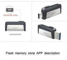 Load image into Gallery viewer, Sandisk 256G Pendrive 32GB U Disk DUAL DRIVE USB Flash Drive 128GB Memory Stick Type - C OTG USB 3.1 64GB High Quality Usb Stick