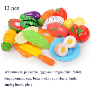 37pcs/lot Children Pretend Role Play House Toy Cutting Fruit Plastic Vegetables Food Kitchen Baby Classic Kids Educational Toys