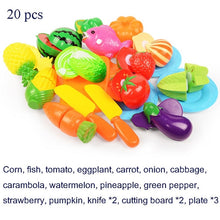 Load image into Gallery viewer, 37pcs/lot Children Pretend Role Play House Toy Cutting Fruit Plastic Vegetables Food Kitchen Baby Classic Kids Educational Toys