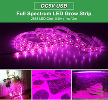 Load image into Gallery viewer, LED Grow Light Full Spectrum USB Grow Light Strip 0.5m 1m 2m 2835 Chip LED Phyto Lamp for Plants Flowers Greenhouse Hydroponic