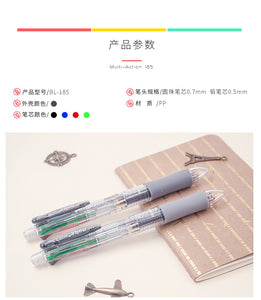 5 in 1 Multicolor Ballpoint Pen Marker Pens With Black/Blue/Green/Red Ink Ball Pen 0.7mm+1PCS Automatic Pencil 0.5mm for Writing