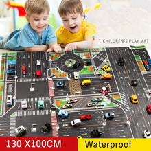 Load image into Gallery viewer, 83*57cm/130*100CM Large City Traffic Car Park Play Mat Waterproof Non-woven Kids Playmat Pull Back Car Toys for Children's Mat