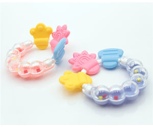 Cartoon Baby Teether Educational Mobiles Toys Teeth Biting Baby Rattle Toy Bed Bell Silicone Handbell Jingle Birthday Gifts