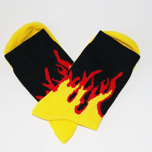 Men Fashion Hip Hop Hit Color On Fire Crew Socks Red Flame Blaze Power Torch Hot Warmth Street Skateboard Cotton  Socks