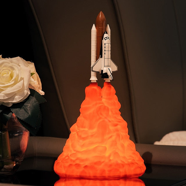 2019 New  Space Shuttle Lamp and Moon lamps In Night Light By 3D Print For Space Lovers Rocket Lamp