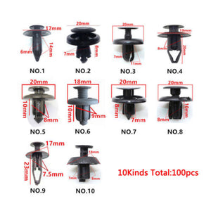 100pcs/Set Black Mixed Plastic Fastener Screw Rivets Clips kit High Quality For Car Bumper Fender trims Rivets Clips