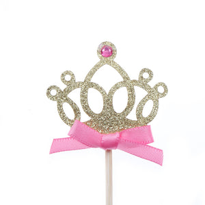 10pcs/lot 1st Birthday Party Decoration Toys Hat Children Party Toy Multi color Cupcake Toppers Princess Crown Hat Toys For Kids