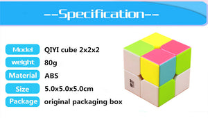 QIYI QIDI 2X2X2 MAGIC SPEED CUBE POCKET STICKERless PUZZLE CUBE PROFESSIONAL 2x2 SPEED CUBE EDUCATIONAL funny TOYS FOR CHILDREN