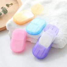 Load image into Gallery viewer, 20pcs Outdoor Travel Soap Paper Washing Hand Bath Clean Scented Slice Sheets Disposable Boxe Soap Portable Mini Paper Soap
