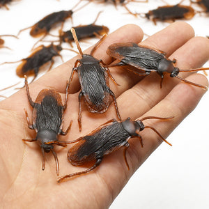 5Pcs Halloween gadget Plastic Cockroaches Joke Decoration Props Rubber Toy Gags Practical Jokes Toys Plastic Bugs Cockroach