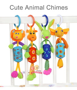 Cute Animal Plush Rattles Stroller Hanging Bell Mobiles Infant Baby Soft Crib Educational Toys for Newborn Children Gift Sozzy