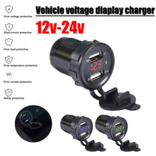 Load image into Gallery viewer, 12V/24V Dual Port Car USB Charger Power Outlet For Ipad Iphone Car Boat Mobile Phones Led Voltage Meter For Car Motorcycle