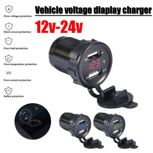 12V/24V Dual Port Car USB Charger Power Outlet For Ipad Iphone Car Boat Mobile Phones Led Voltage Meter For Car Motorcycle