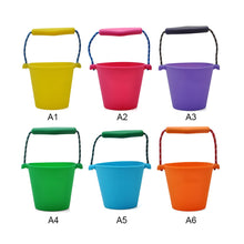 Load image into Gallery viewer, 6 Colors Beach Bucket Silicone Folding Hand-held Barrel Toy Baby Kids Shower Bath Toy Sand Dabbling Pour Water Toy