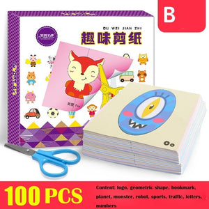 96pcs/set Kids cartoon color paper folding and cutting toys/children kingergarden art craft DIY educational toys