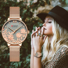 Load image into Gallery viewer, CURREN Women Watches Top Brand Luxury Stainless Steel Strap Wristwatch for Women Rose Clock Stylish Quartz Ladies Watch