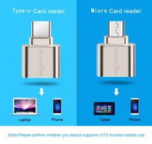 Load image into Gallery viewer, Rocketek micro usb 2.0 type c otg phone mini memory card reader adapter Aluminum cardreader for micro SD/TF microsd laptop