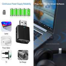Load image into Gallery viewer, USB Bluetooth 5.0 Transmitter Receiver 3 in 1 EDR Adapter Dongle 3.5mm AUX for TV PC Headphones Home Stereo Car HIFI Audio