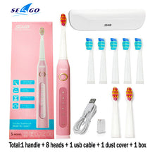 Load image into Gallery viewer, Sonic Electric Toothbrush SG-507 Adult Timer Teeth Whitening Brush 5Mode USB Rechargeable Tooth Brushes Replacement Heads Gift