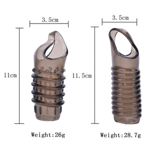 Hot Silicone Reusable Penis Sleeve Flexible Glans Penis Enlarger Extender Girth Delay Cocks Ring Sleeve Adult Sex Toys For Men