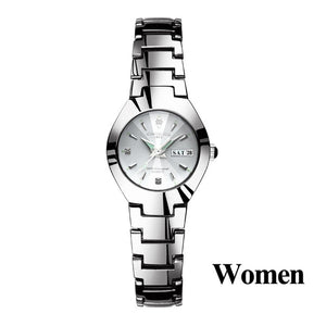 Lovers Watches Luxury Quartz Wrist Watch for Men and Women Hodinky Dual Calender Week Steel Saat Reloj Mujer Hombre Couple Watch