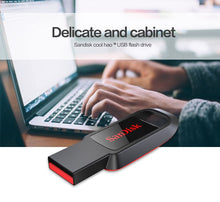 Load image into Gallery viewer, 100% real capacity mini usb 2.0 pen drive 128gb 64gb 32gb 16gb CZ61 pendrive original SanDisk black usb flash drive for PC