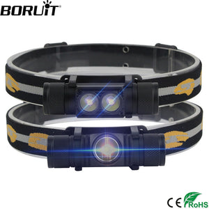 BORUiT XM-L2 LED Mini Headlamp High Power 1000lm Headlamp 18650 Rechargeable Head Torch Camping Hunting Waterproof Flashlight