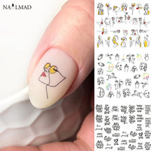 Load image into Gallery viewer, 11/12patterns/sheet Black Line Coloful Abstract Image Nail Sticker Decals Sexy Girl Water Transfer Slider For Nails Art